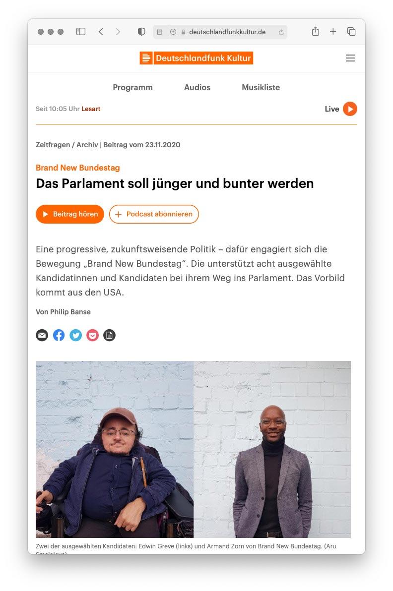 Artikel auf deutschlandfunkkultiur.de